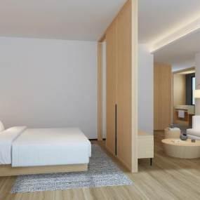 現代簡約酒店大床房3D模型【ID:746345386】