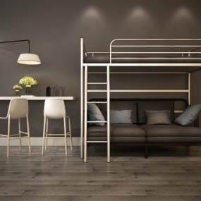 现代高架床沙发床组合 3D模型【ID:635672157】