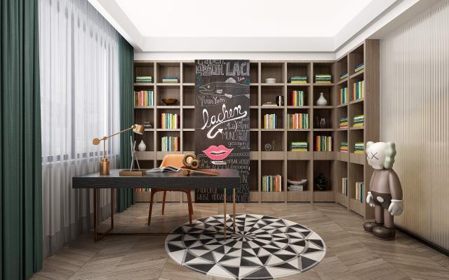 现代书房书柜组合3D模型【ID:541415404】