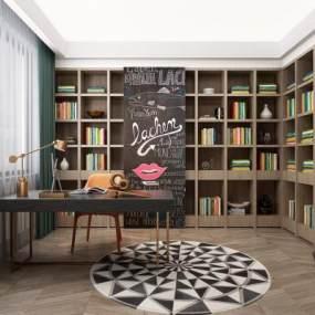 现代书房书柜组合 3D模型【ID:541415404】
