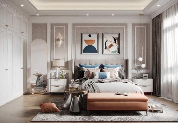 美式轻奢卧室 装饰画 台灯 穿衣镜