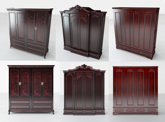 传统中式衣柜3D模型【ID:132496292】