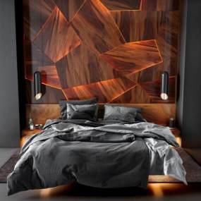 现代双人床实木床背 3D模型【ID:841300791】