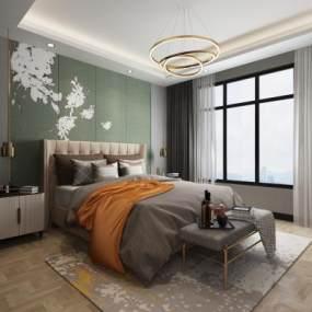 現代輕奢臥室3D模型【ID:544031250】