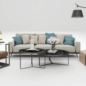 现代沙发茶几组合3D模型【ID:644517710】
