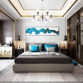 现代轻奢卧室3D模型【ID:548905214】