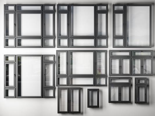 現代鋁合金窗戶3D模型【ID:345536225】