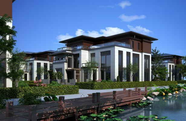 新中式别墅3D模型【ID:148232305】