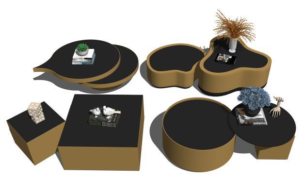 現代茶幾擺件花瓶組合SU模型【ID:147628847】