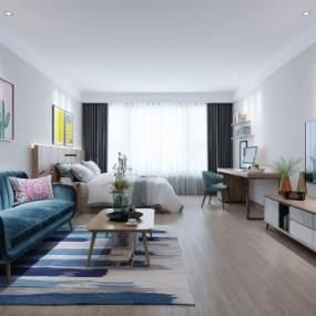 现代公寓客厅3D模型【ID:550671052】