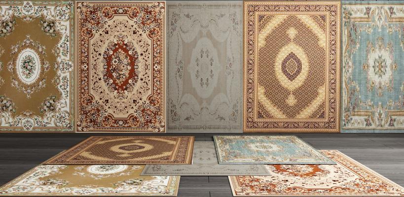 美式欧式地毯组合3D模型【ID:341616279】