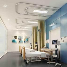 現代醫院留觀室3D模型【ID:943047794】