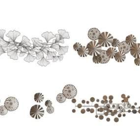 现代金属墙饰挂件组合3D模型【ID:245481797】