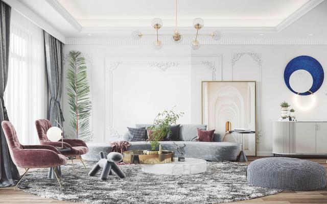 法式客厅 沙发组合 茶几