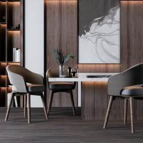 现代简约北欧吧台餐座椅组合3D模型【ID:143577722】