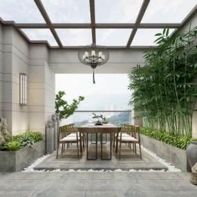 新中式户外茶室3D模型【ID:644422617】