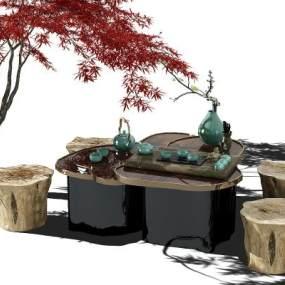 中式茶桌3D模型【ID:832527913】