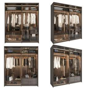 現代輕奢衣柜組合3D模型【ID:146896445】