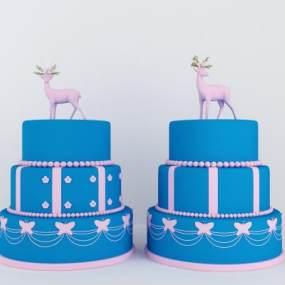 现代鹿与蛋糕装饰3D模型【ID:635805395】