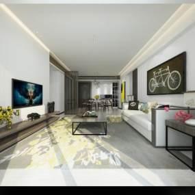 現代中式客廳 3D模型【ID:541514092】
