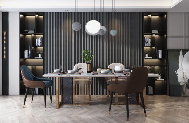 现代轻奢餐桌椅组合3D模型【ID:750844123】