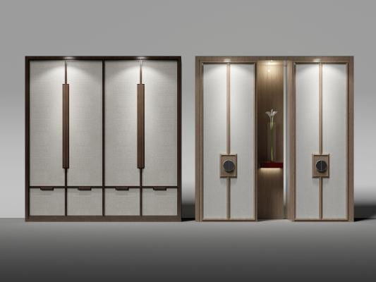 中式衣柜3D模型【ID:132535499】
