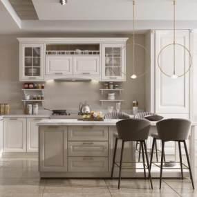 简欧风格开放式厨房餐厅3D模型【ID:553925364】