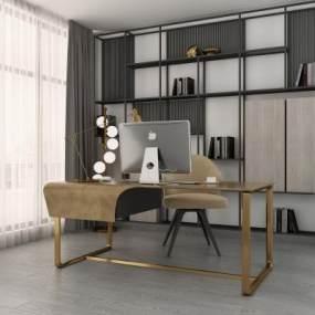 现代书桌3D模型【ID:943425076】