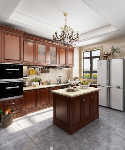 美式廚房3D模型【ID:543364342】