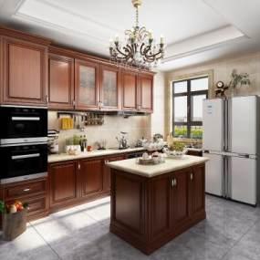 美式厨房3D模型【ID:543364342】