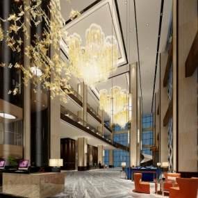 现代酒店大堂3D模型【ID:752599001】