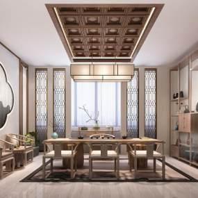 新中式茶室3D模型【ID:643402136】