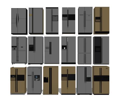 現代銀色拉絲不銹鋼雙開門冰箱組合SU模型【ID:647883885】