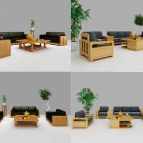 現代實木沙發茶幾組合3D模型【ID:644146706】