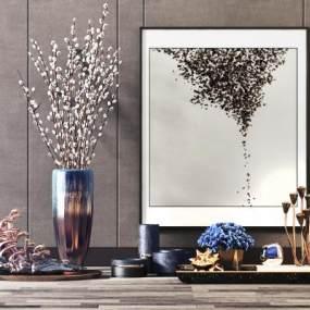 新中式奢华软装花瓶花卉摆件组合3D模型【ID:241474582】