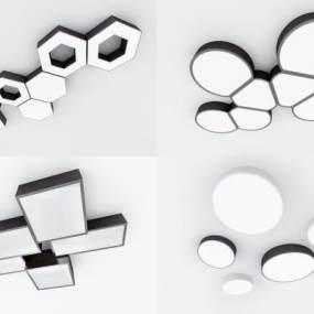 现代吸顶灯组合3D模型【ID:833509023】