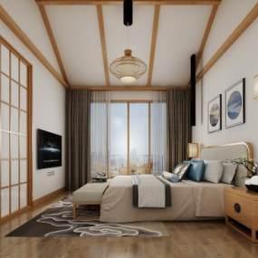 新中式酒店客房 3D模型【ID:741999347】