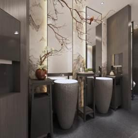 新中式酒店卫生间3D模型【ID:443813133】