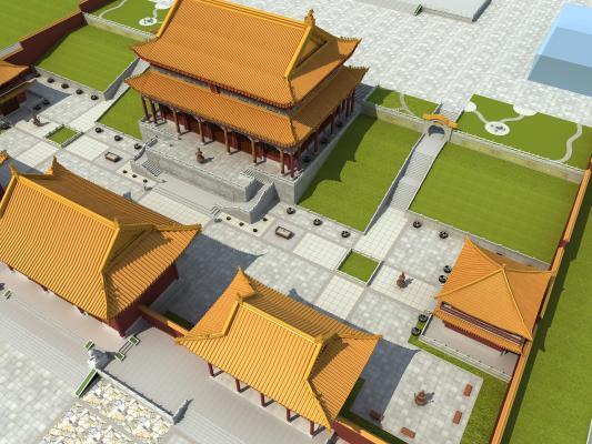新中式寺庙3D模型【ID:146171997】