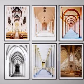 现代建筑装饰画挂画3D模型【ID:249443959】