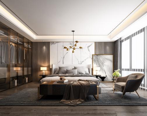 现代卧室3D模型【ID:553320268】