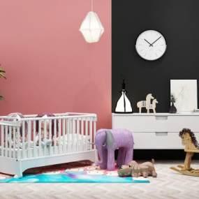 现代婴儿床玩具3D模型【ID:830938820】