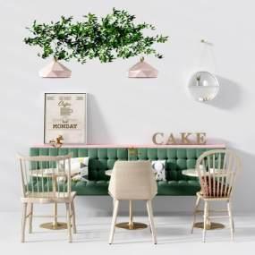 北欧卡座餐桌椅3D模型【ID:842538898】