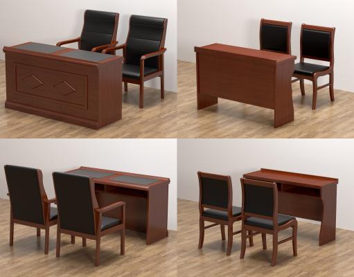 现代会议长条桌椅 培训桌椅 双人条桌椅