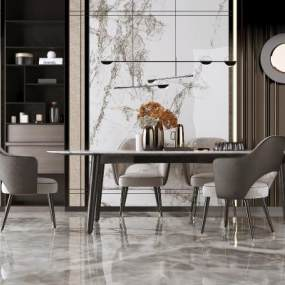 现代轻奢餐桌椅吊灯3D模型【ID:836082834】