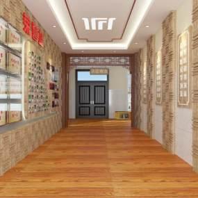 新中式阅览室走廊3D模型【ID:933595687】