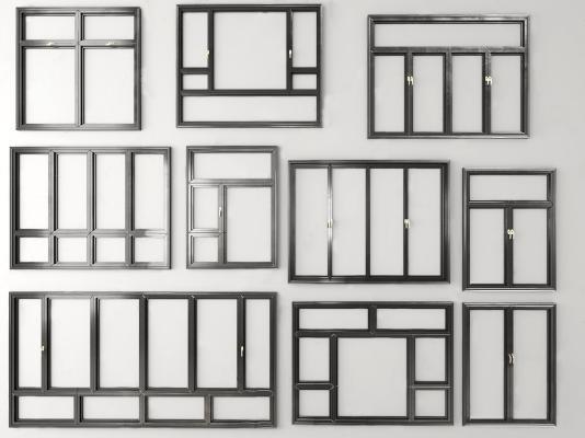 現代建筑鋁合金窗戶3D模型【ID:346438293】