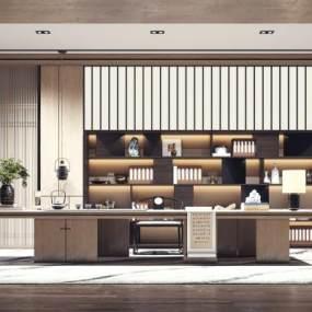 新中式书房茶室3D模型【ID:543517449】
