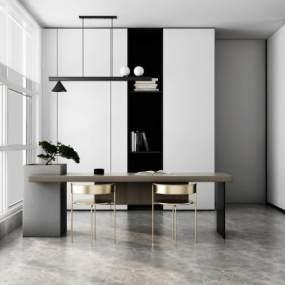 现代风格书桌椅3D模型【ID:947740038】
