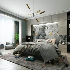现代风格卧室3D模型【ID:534698217】
